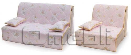 Бамбино Аккордеон комплект (диван кресло) Бязь розовая A33055