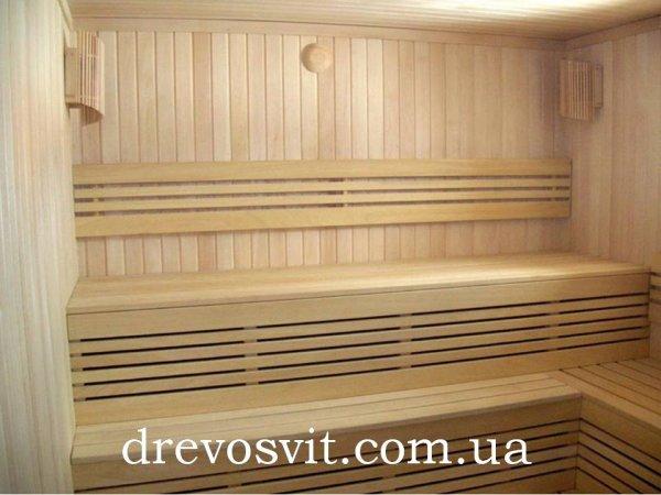 Брус полиць (вільха, липа) для лазні та сауни. Висока якість обробки деревини. Примусова конвекційна сушка.