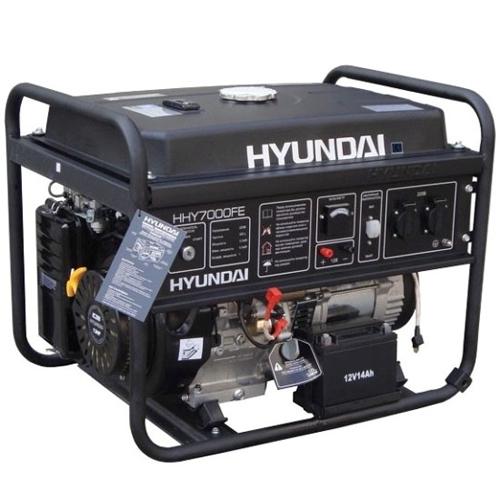 Бензиновый генератор Hyundai HHY 7000FE Акция 20л бензина в подарок заправка масла.