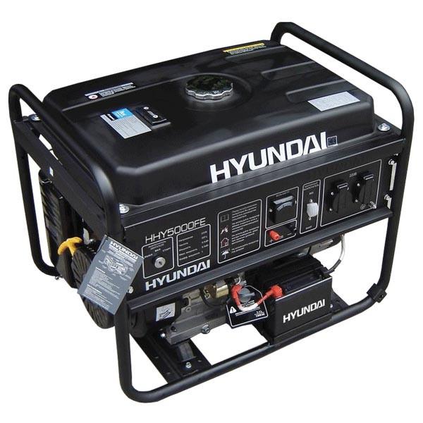 Бензиновый генератор Hyundai HHY 9000FE Акция 20л бензина в подарок заправка масла.