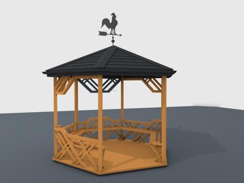 Беседка шестигранная деревянная - диаметр 3 м. - 16000 грн