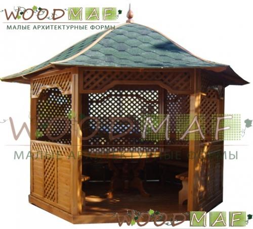 Беседка шестигранная деревянная - диаметр 4 м. - 29 000 грн