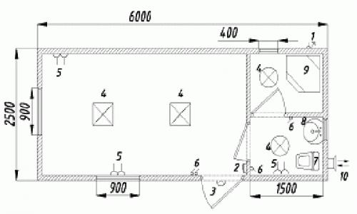 Бытовка металлическая с туалетом и душевой кабиной ,6х2,4 м. Может быть длиной 7м,8м,9м.