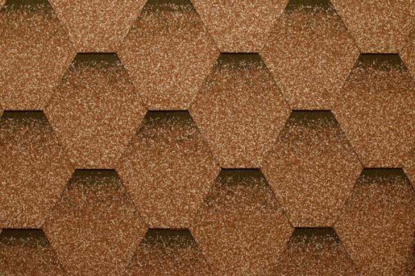 Бітумна черепиця Руфлекс SOTA - СБС модифікований бітум. Шестигранники з тінню створюють тривимірний ефект.