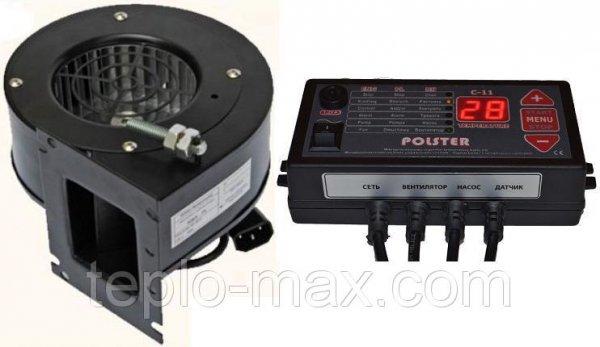 Фото  1 Блок управления Polster C-11 и вентилятор NWS-75 комплект для автоматизации твердотопливного котла 1843703