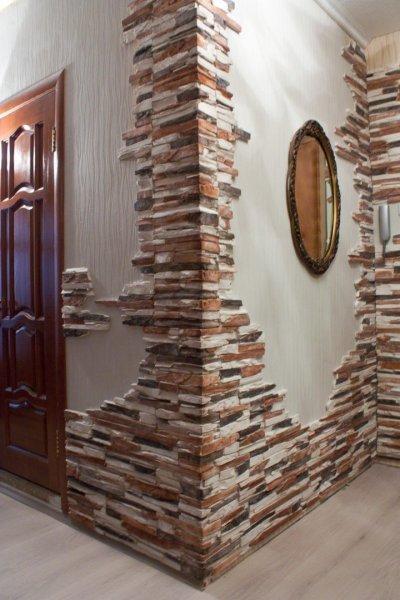 Укладка искусственного камня на стену