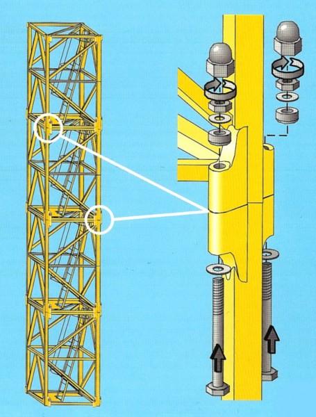 Болт крепления башенной секции Liebherr 120 HC в комплекте, новый, оригинальный Liebherr