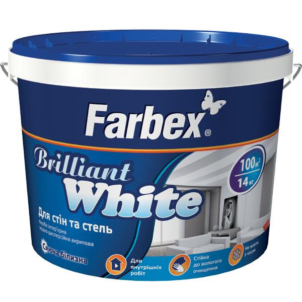 Краска для стен и потолков BrilliantWhite  Farbex