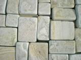 Брусчатка из камня песчаника. Цвет: серо-зеленый, желтый. Толщина 3-4 см. от производителя.