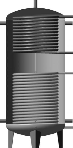 Буферная емкость (теплоаккумулятор) 1500л. EA-11-1500 с нижним и верхним змеевиками теплоизоляция