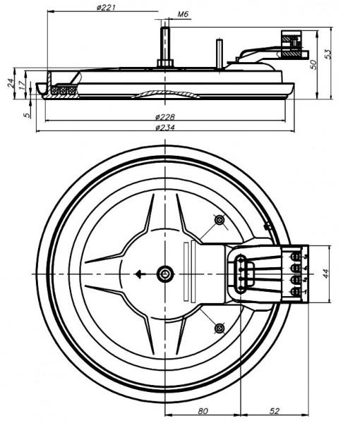 Конфорка 2600Вт, 230В, d=220мм