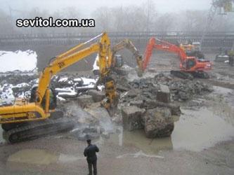 Демонтаж, снос, разрушение, дробление бетонных конструкций и сооружений