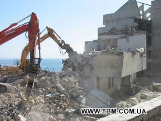 Демонтаж, снос зданий и сооружений из железобетона, кирпича