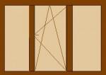Деревянные евроокна трёхстворчатые с одной открывающейся створкой