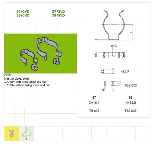Держатель Скоба 37/SVD для люминесцентных ламп с цоколем G13 Stucchi