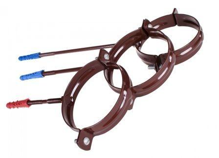 Держатель трубы стальной L=100 водосточной системы PROFIL 90/75;коричневый, белый;диаметр 90 мм