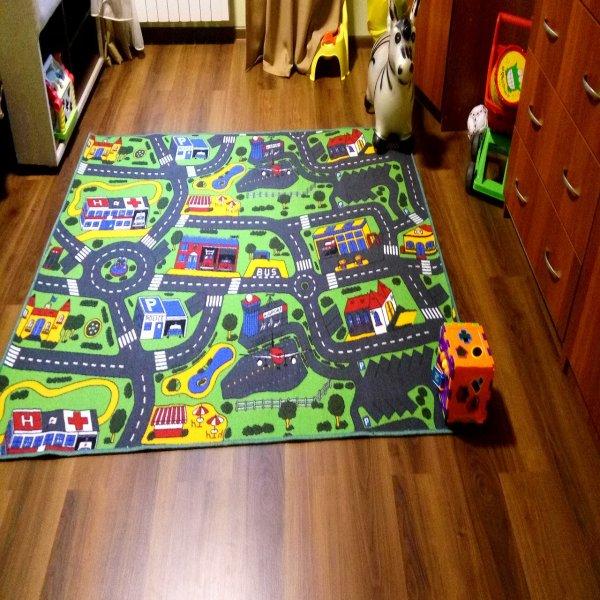 Фото  1 Дитяча килимова доріжка Сіті Лайф 3, Сіті Лайф, повстяна, поліамід, 5 мм, Сіро-зелений, 2.0 х (потрібна довжина) 2134149