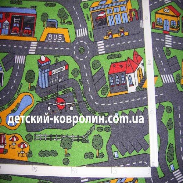 Фото  1 Детская ковровая дорожка Сити Лайф 3, Сити Лайф, войлочная, полиамид, 5 мм, Серо-зеленый, 2.5 х (нужная длина) 2134150