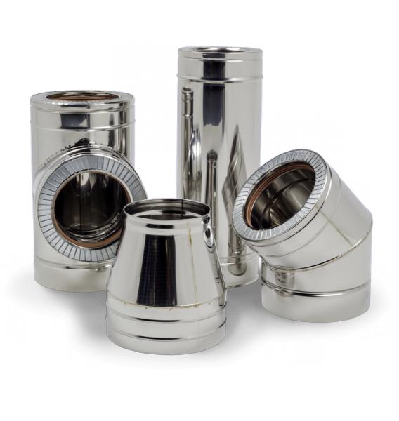 Трубы для дымоходов 0,8 мм d=160/220 мм в нержавеющем кожухе