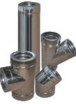 Дымоход двустенный из нержавеющей стали 1 мм d=120/180 мм в оцинкованном кожухе