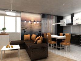 дизайн интерьера (кухня-гостиная)