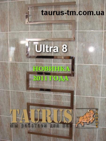 Дизайнерский полотенцесушитель из нержавеющей стали ULTRA 8 колен /1400x500мм. НОВИНКА
