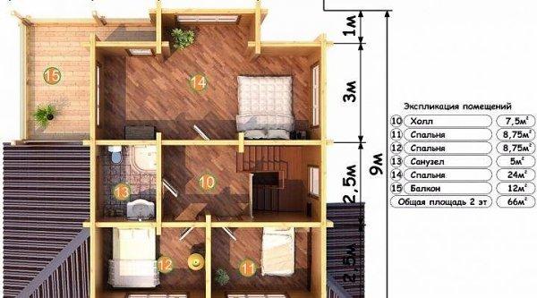 Фото 6 Дом двухэтажный, деревянный из профилированного бруса 9х9 м 335570