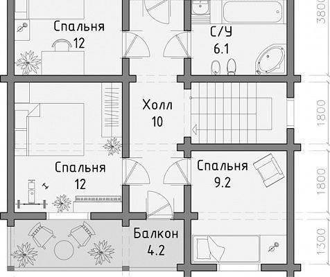 Фото 3 Дом двухэтажный, деревянный из профилированного бруса 12х8 м 335567