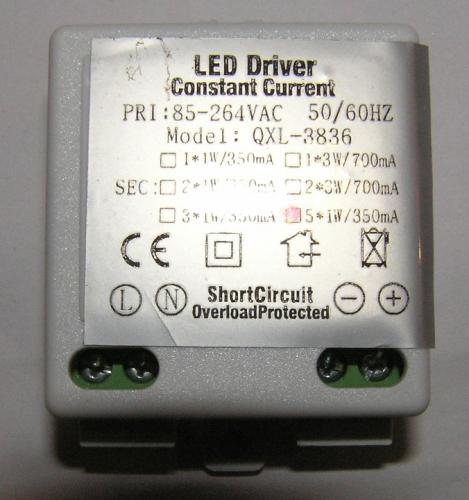 Драйвер для светодиодов QXL-3836 350mA 1*5Вт
