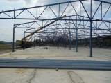 фермы перекрытия металлические, ширина по осям = 24м, с колоннами по центру.