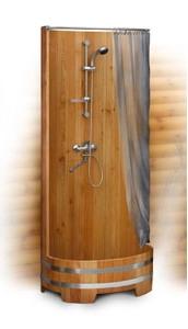 Душевая кабина из дерева, деревянная душевая кабина. Душевые поддоны из дерева