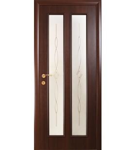 Дверь ламинированная Стелла каштан, стекло с рисунком (Украина)