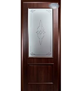 Дверь ламинированная Вилла Р каштан, стекло с рисунком (Украина)