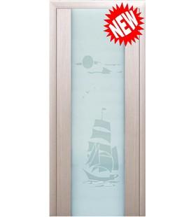 Дверь шпонированная Милано 2 беленый дуб (рисунок Корабль) (Украина)