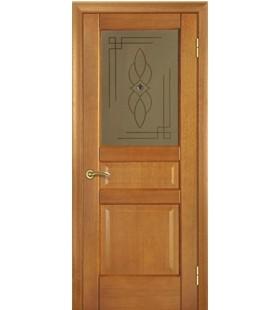 Дверь шпонированная Модель 20, орех классический, стекло с декоративным рисунком (Украина)