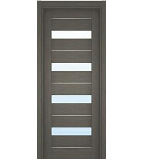 Дверь шпонированная L-12M венге аззуро, с алюминиевыми молдингами, стекло сатин (Украина)