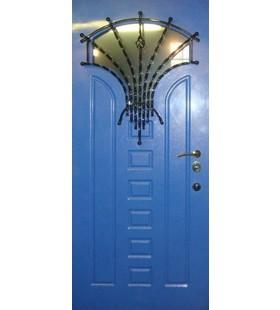 Дверь стальная модель 29 (покрытие vinorit, уличное)с художественной ковкой и стеклопакетом.