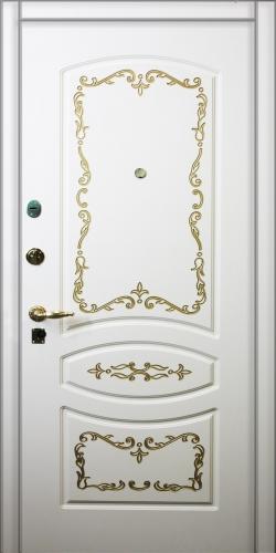 Дверь входная металлическая с отделкой МДФ крашенный RAL 1 замок CISA 57.689