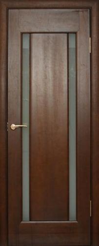"""Двери межкомнатные модель №12 со стеклом в цвете """"каштан"""""""