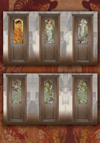 Двери межкомнатные с витражами.