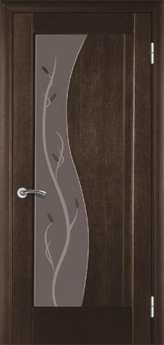 Двері міжкімнатні деревяні покриті натуральним шпоном. Зі склом, коробкою та лиштвою. Колір венге.