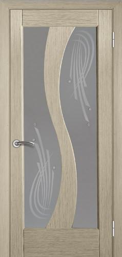 Двері міжкімнатні деревяні шпоновані. Колір білений дуб, модель 15 зі склом. Коробка, налічніки.