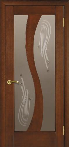 Двері міжкімнатні деревяні шпоновані. Модель 15, каштан. Скло, налічніки, коробка в комплекті