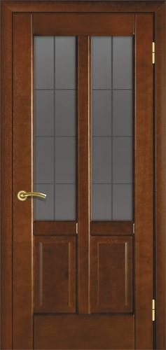 Двері міжкімнатні деревяні. Модель 19 каштан. Зі склом, налічніками та коробкою.