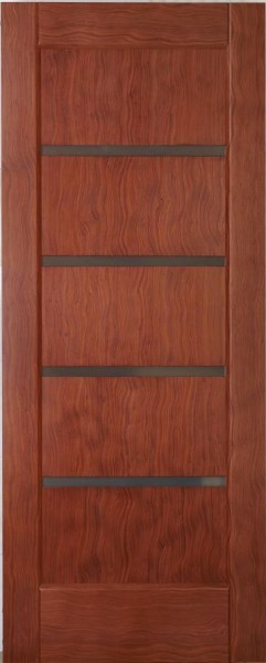 Двері міжкімнатні деревяні. Покриті шпоном кореню амаретто. Модель 30 зі склом.