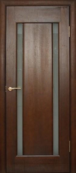 Двері мжікімнатні деревяні, шпоновані. Колір каштан, модель 12 зі склом, коробкою та лиштвою.