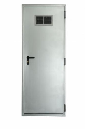 Двери промышленные противопожарные. Снабжены дверными доводчиками. Степень огнестойкости от 30 до 90 минут.