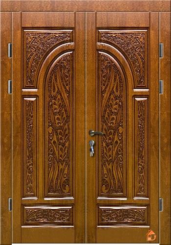 Двери входные 1500х2050. МДФ 16мм. Метал 2мм. 3D фрезеровка патина