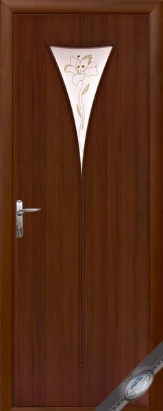 Дверное полотно ламинированное Бора с витражным стеклом