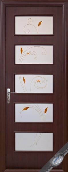 Дверное полотно ламинированное Ева с витражным стеклом